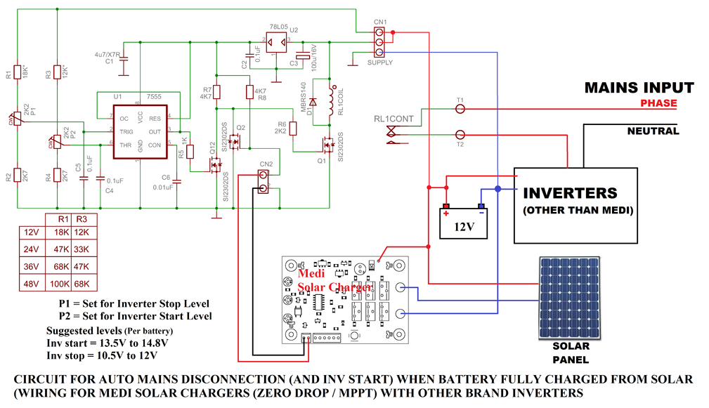 auto mains disconnection circuit