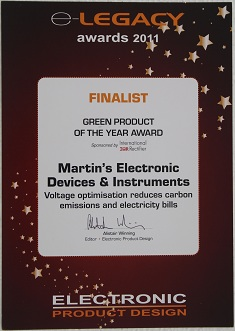 E-Legacy Awards Finalist 2011 for Voltage Optimizer